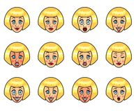 Womans emotions cartoon vector set Royalty Free Stock Image