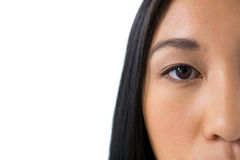 Womans eyes with eyebrows stock image