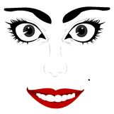 Womans eyes sketch. Woman with a slight evil expression in her eyes royalty free illustration