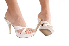 Womans Füße einer seitlich lizenzfreie stockfotografie