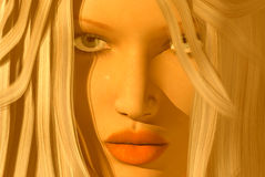 Womans face. 3D render of a womans face Royalty Free Stock Image