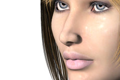 Womans face. 3D render of a womans face Royalty Free Stock Images