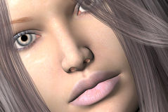 Womans face. 3D render of a womans face Stock Photo