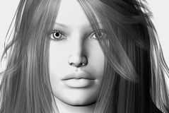 Womans face. 3D render of a womans face Royalty Free Stock Photo