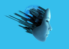 Womans face with abstract technology. Royalty Free Stock Image