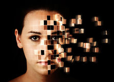 Womans face disintegrating Stock Photos