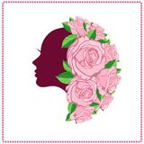 Womans face in flower. Leaves,Logo Concept for Beauty Salons and Spa Stock Photos