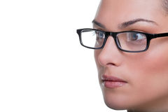 Womans face with glasses close up stock photos