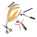 Womans face with make up accessories Stock Photo