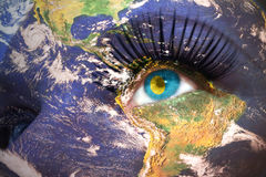 Womans face with planet Earth texture and palau flag inside the eye. Stock Photography