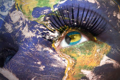 Womans Face With Planet Earth Texture And Bahamas Flag Inside The Eye Royalty Free Stock Image