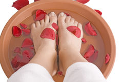 Womans feet in rose petals Royalty Free Stock Photography