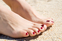 Womans feet on sand Stock Image