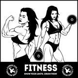 Womans fitness showing muscles - Female Fitness Royalty Free Stock Photography