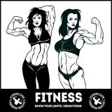 Womans fitness showing muscles - Female Fitness Stock Image