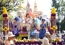 Womans on flower decorated cart Royalty Free Stock Photo