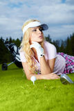 Womans golf. On green grass Stock Image