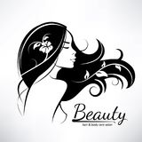 Womans hair style stylized sillhouette. Beauty salon logo template