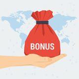 Womans hand with bag gift bonus Stock Image