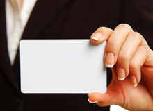 Womans hand with card Royalty Free Stock Images