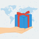 Womans hand with gift box Stock Image