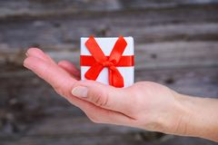Womans hand hold little gift box Royalty Free Stock Photo
