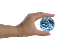 Womans hand holding earth Royalty Free Stock Photos