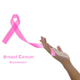 Womans hand holding pink breast cancer awareness ribbon Stock Images
