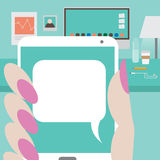 Womans hand holding smartphone with space for your message Royalty Free Stock Photo
