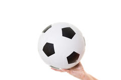Womans hand holding soccer ball Stock Image