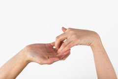 womans hand is shown in yoga gesture Royalty Free Stock Photos