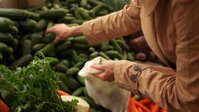 Womans hand takes a fresh cucumber from the food shelf. Organic products. Vegetables and fruits. Healthy food. Shopping