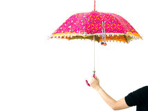 Womans hand with an umbrella isolated Royalty Free Stock Photography