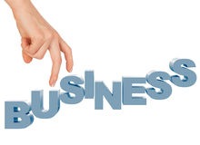 Womans hand with word business Stock Images