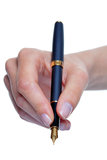 Womans hand writing with fountain pen isolated Royalty Free Stock Photography