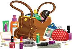 Womans handbag and contents. An illustration of a woman's handbag and various items you might find in it, including purse, brushes and lipstick. All items Royalty Free Stock Photography