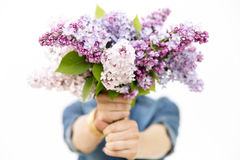 Womans hands holding bouquet of lilacs Royalty Free Stock Image
