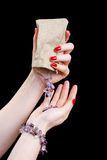 Womans hands with jewellery Stock Photos