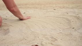 Womans hands playing with sand at exotic beach and blurred ocean backdrop. summer vacation concept.  stock video