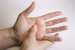 Womans hands self massage Royalty Free Stock Images