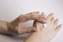 Womans hands self massage Royalty Free Stock Photography