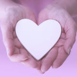 Womans hands showing a white heart stock photos