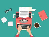 Womans hands typing an article on a vintage typewriter. Flat illustration of copywriter working process and author modern workplace. Green background for Stock Images