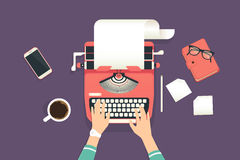 Womans hands typing on a vintage typewriter. Womans hands typing an article on a vintage typewriter. Flat illustration of working process and author modern Stock Photo
