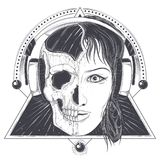 Womans head with half face skull engraved royalty free illustration