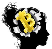Obsessed With Bitcoin. A womans head in silhouette with gold Bitcoin sign symbol. Concept for thinking or dreaming about making money with Bitcoin stock illustration