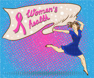 Womans health concept poster in comic pop art style. Woman holds banner with breast cancer pink ribbon symbol stock illustration