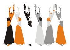 Womans hermosos en danza stock de ilustración