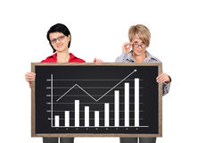 Womans holding blackboard Royalty Free Stock Images