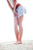 Womans legs at the beach Royalty Free Stock Images